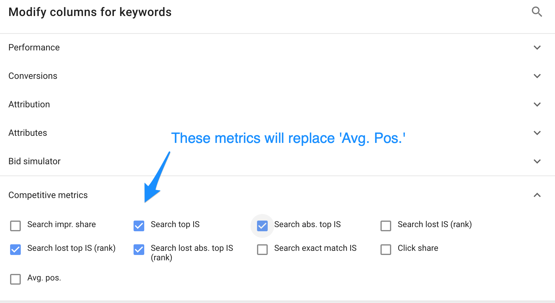 replace avg position