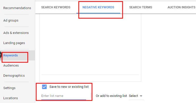 build negative keywords list