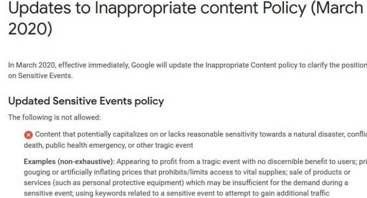 """Google更新了针对不当内容的广告政策,其中包括""""突发公共卫生事件"""""""