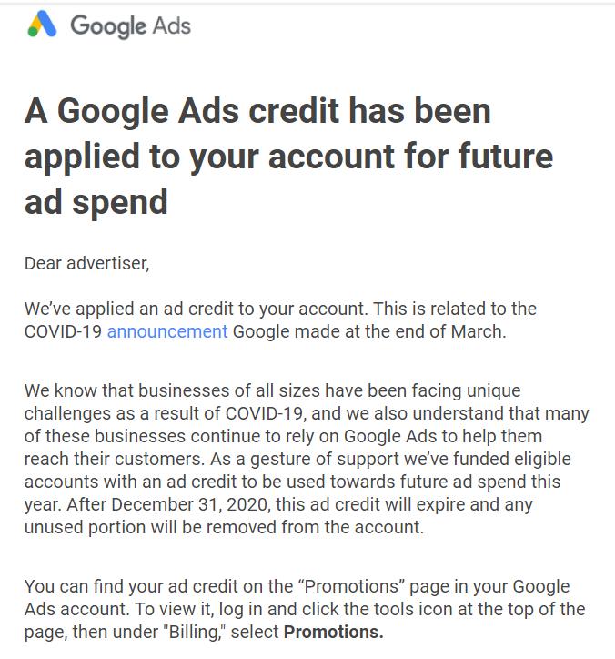 快讯:谷歌广告发放广告账号赠金:面向全球中小型企业