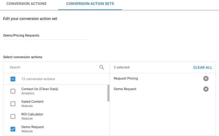 什么时候使用谷歌的转化操作组Conversion Action Sets?