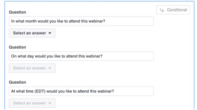 如何创建条件答案的Facebook潜在客户表单广告