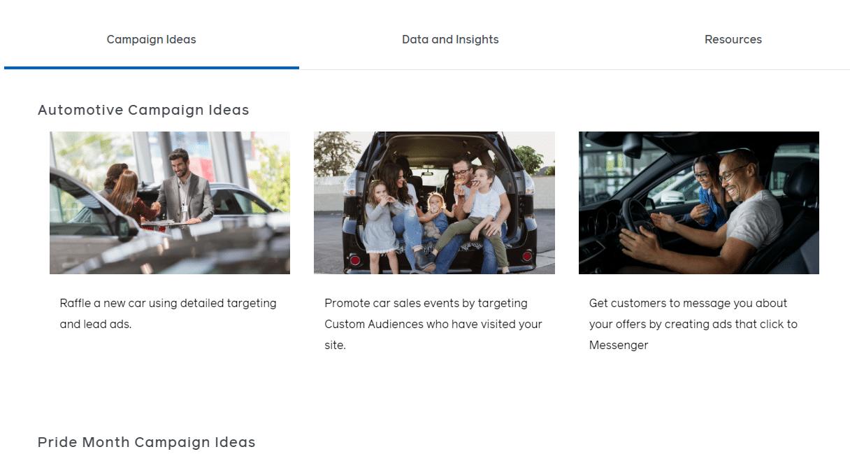 什么是Facebook Campaign Ideas Generator (寻找广告创意灵感)
